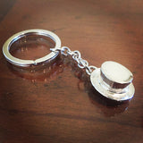Dressage Hat Key Ring, Sterling Silver