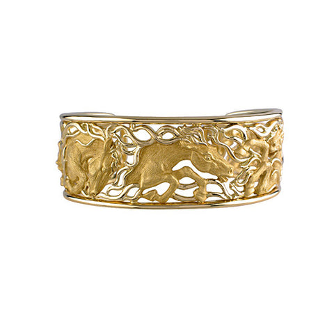 Horse Sculpted Bracelet, 18k Gold