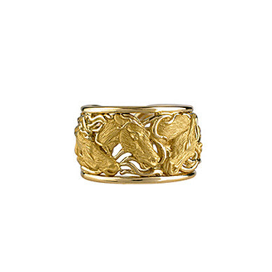 Horse Sculpted Ring, 18k Gold