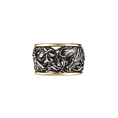 Horse Sculpted Ring, Sterling & 18k Gold