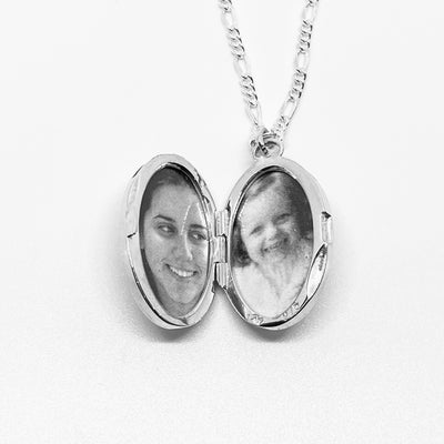 Floral Oval Locket, Sterling Silver