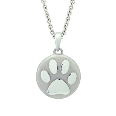 Forever Memorial Paw Necklace, Sterling Silver