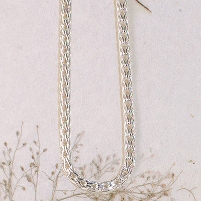 Rope Wheat Chain Necklace, Sterling Silver