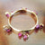 Horseshoe Pink Tourmaline Bangle Bracelet, 14k gold