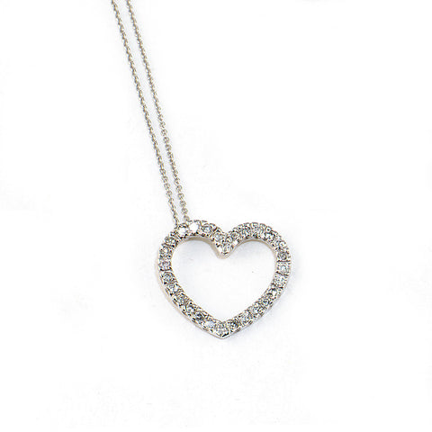 Diamond Heart Necklace, 14k w/g