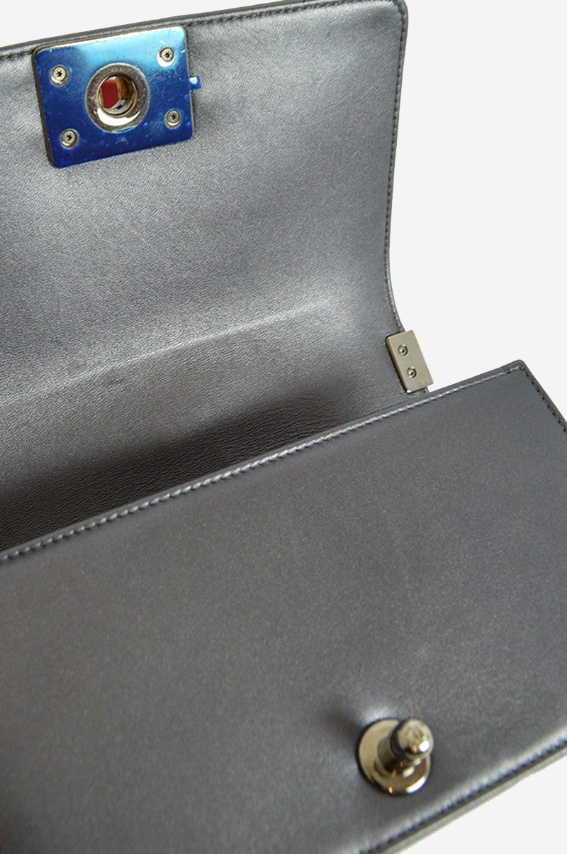 Metallic Grey Cube Embossed Lambskin Small Boy Bag