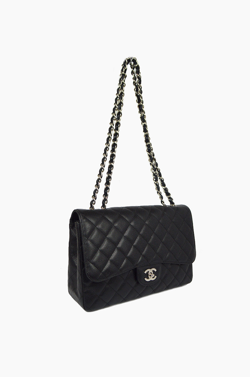 Black Caviar Jumbo Single Flap Bag SHW