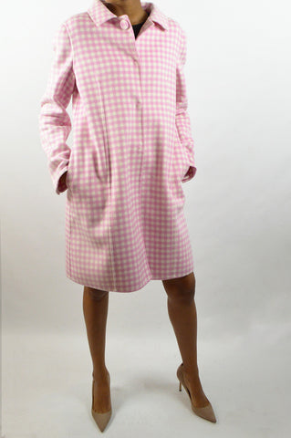 Pink Wool Check Pattern Coat