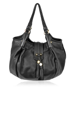 Black Leather Marrakech Large Hobo Bag - Haute Classics
