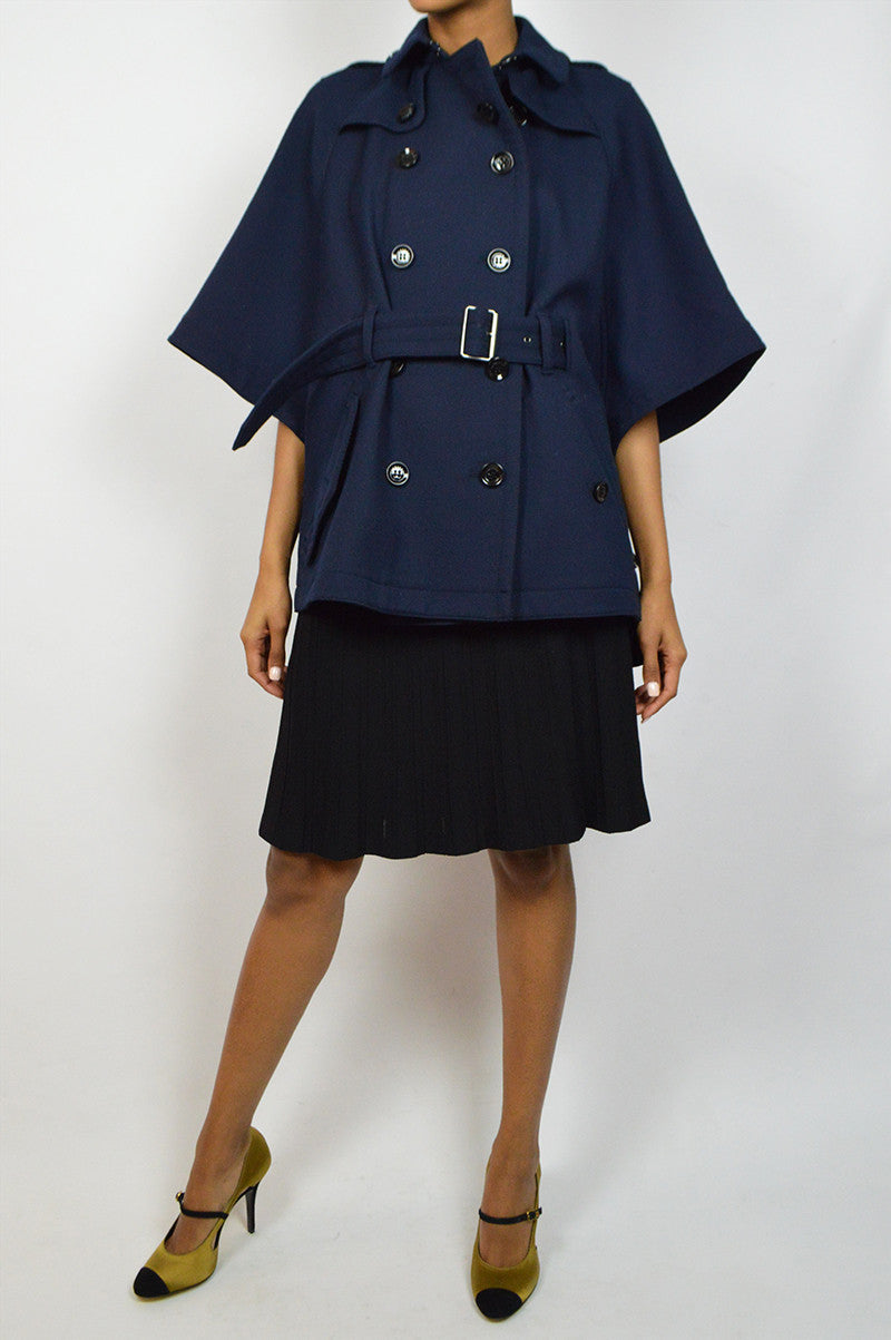 Navy Wool Belted Cape Coat