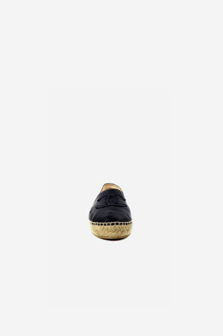 Black Leather Espadrille Flats