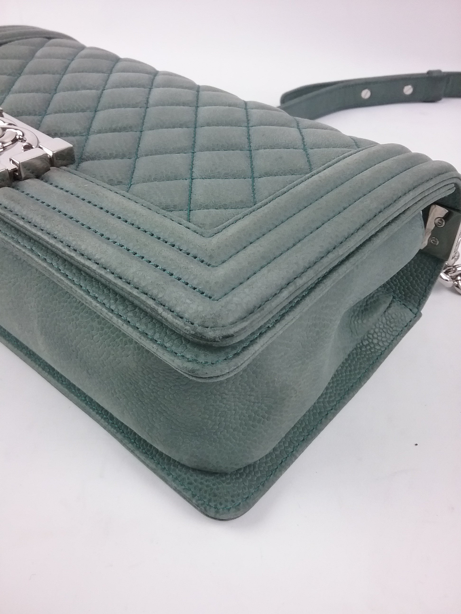 Green Soft Caviar Old Medium Boy Bag SHW