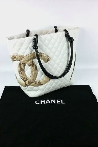 White Leather Snakeskin CC Cambon Tote