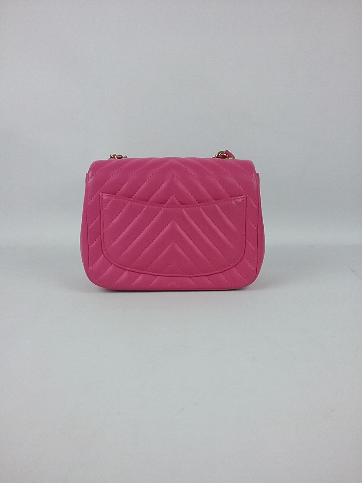 Fuschia Lambskin Chevron Square Mini Bag GHW
