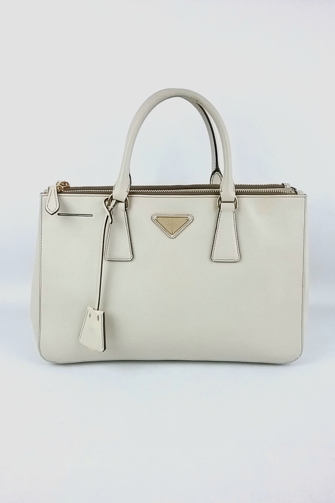 Beige Saffiano Lux Small Double Zip Tote - On Layaway