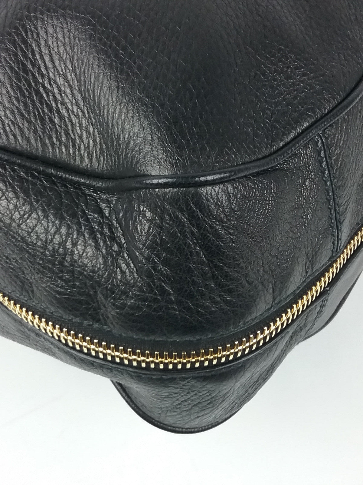 Black Leather Zip Around Hobo