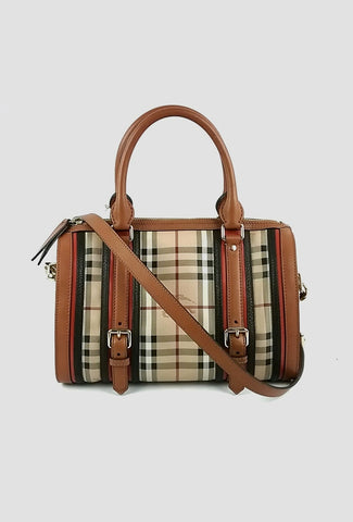 Haymarket Check Leather Trimmed Bowler Bag w/ Strap