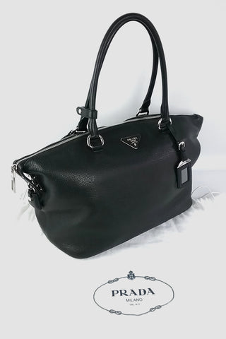 Black Vitello Daino Satchel SHW