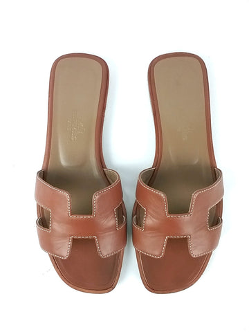 Oran H Cognac Leather Sandals