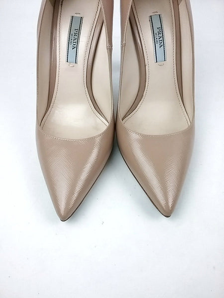Nude Sheen Pointed Toe Pumps