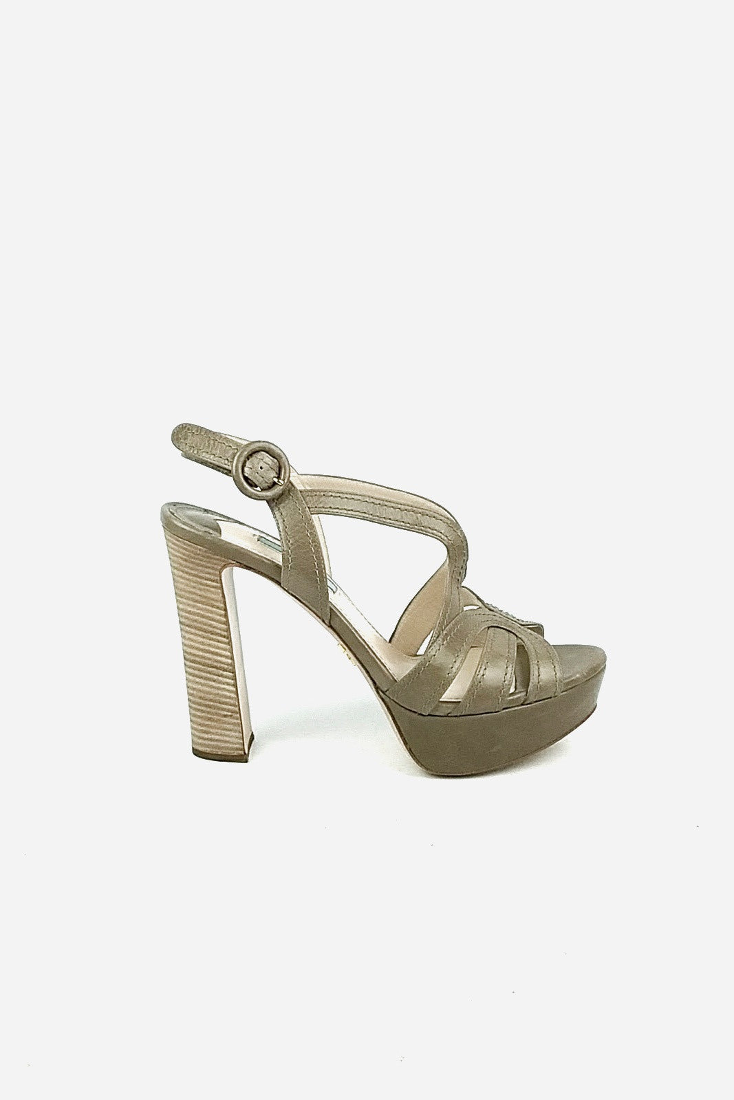 Taupe Sandals w/ Stacked Heels