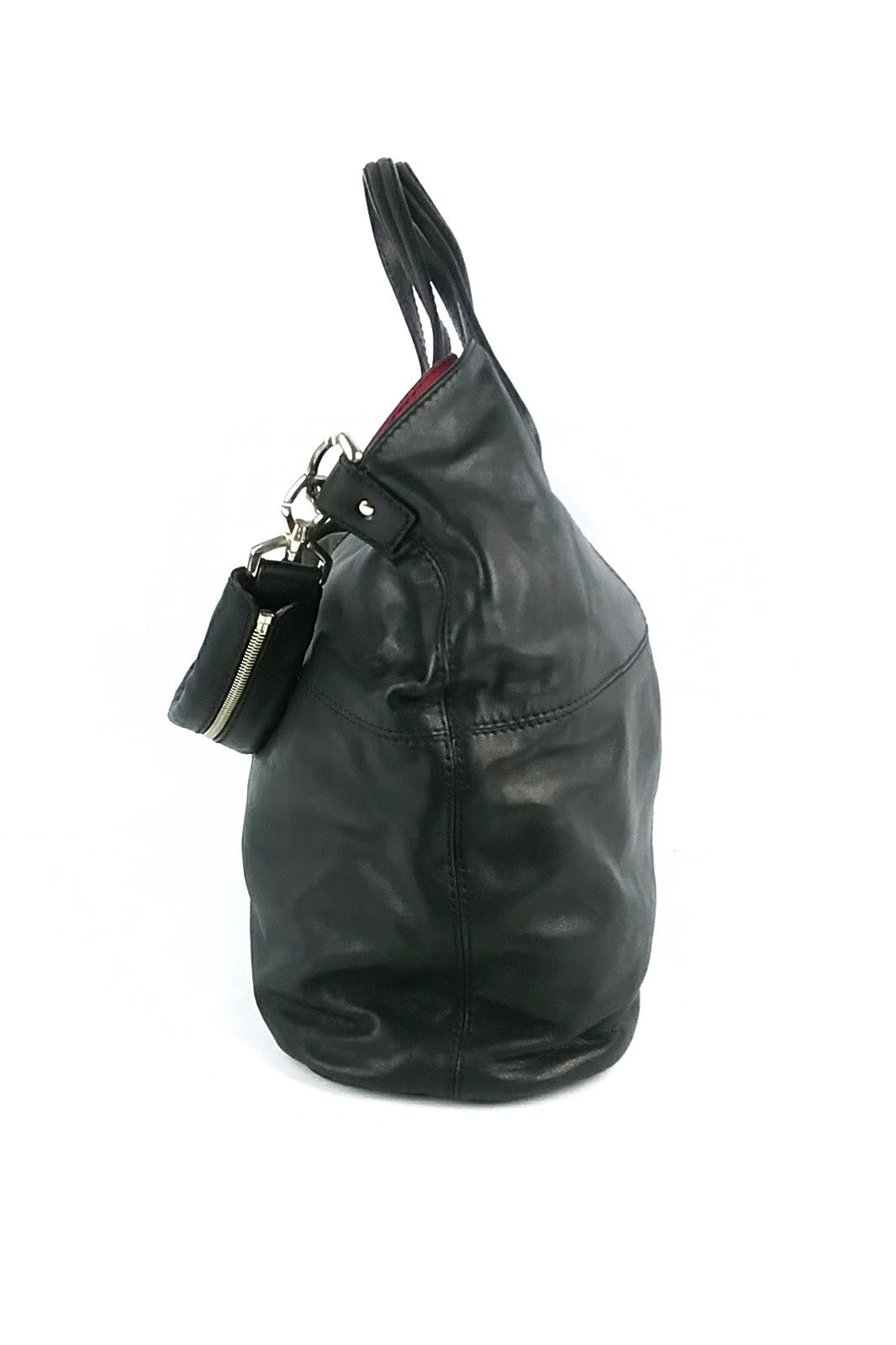 Black Leather Nightingale Shopping Tote
