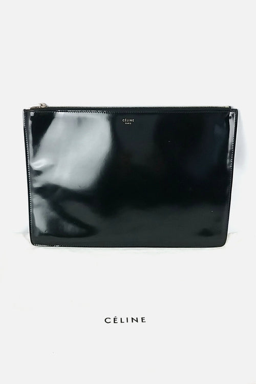 Black Patent Leather Clutch - Haute Classics