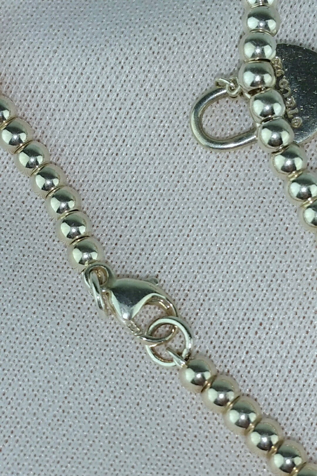Sterling Silver Small Beaded Bracelet w/ Heart Lock Charm