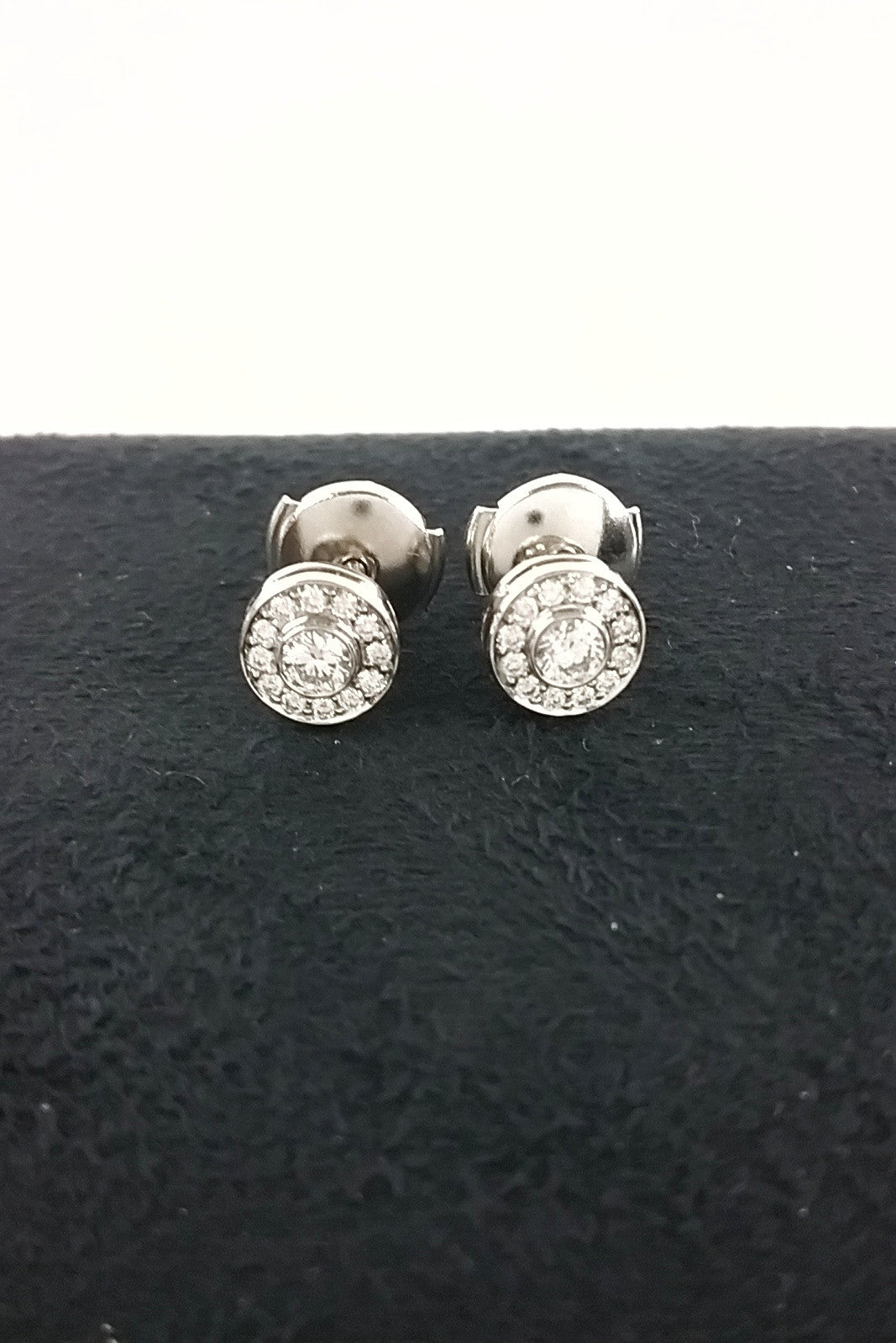 Circlet Mini Stud Earrings w/ Diamonds in Platinum - ON LAYAWAY