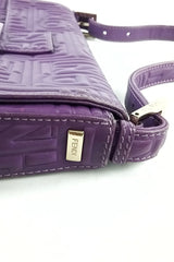 Purple Embossed Shoulder Bag