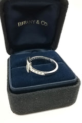 Open Square Top Cut Out Diamonds Platinum Ring
