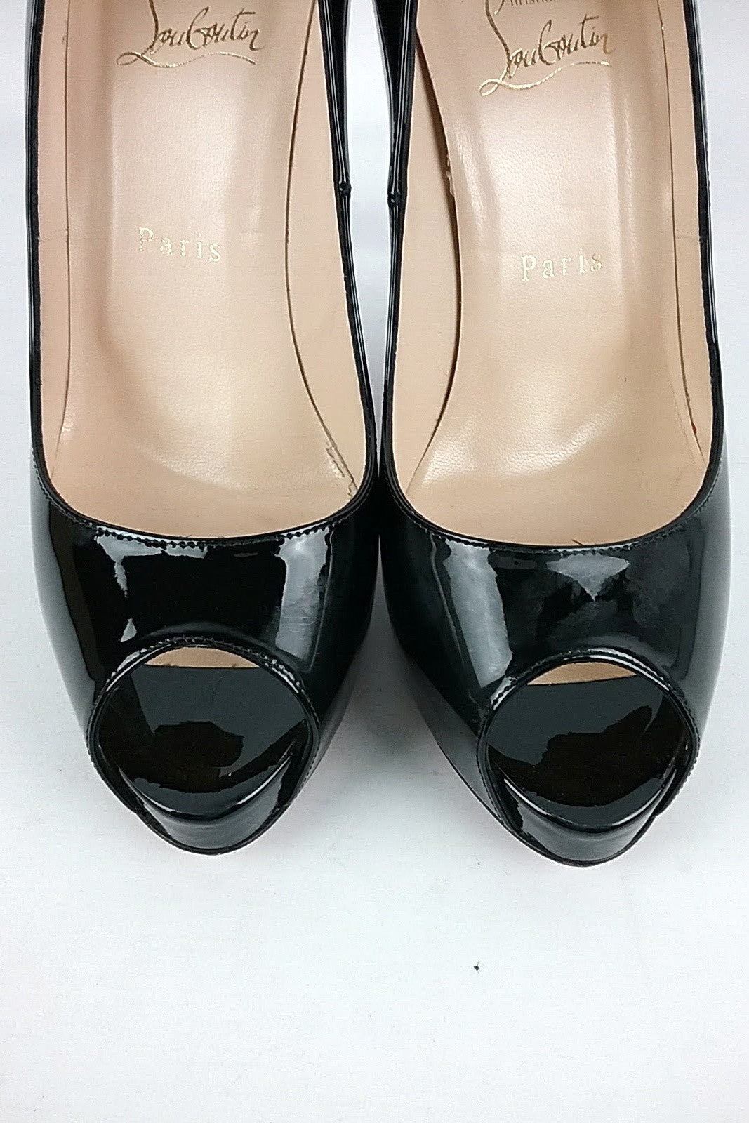 Black Patent Leather New Very Prove Peep Toe Pumps