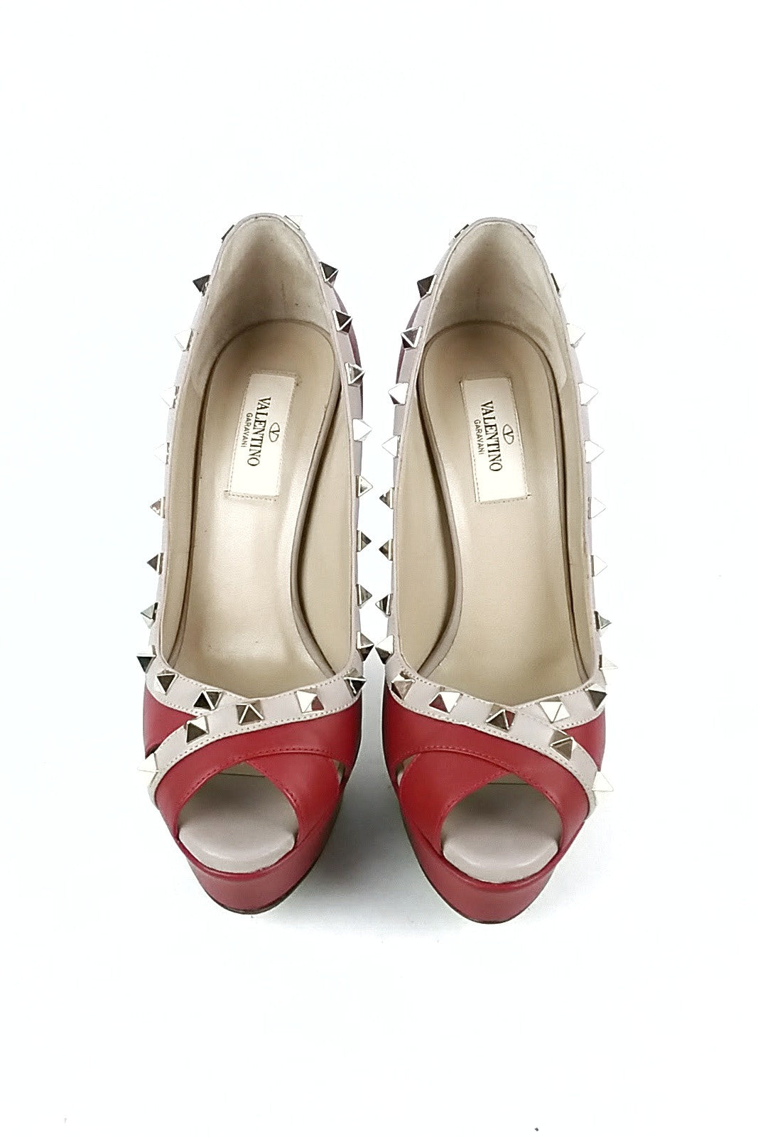 Rouge Leather Turati Rockstud Pumps