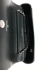 Black Chevron Lambskin Wallet on Chain SHW