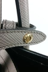 Grey Saffiano Cuir Double Bag