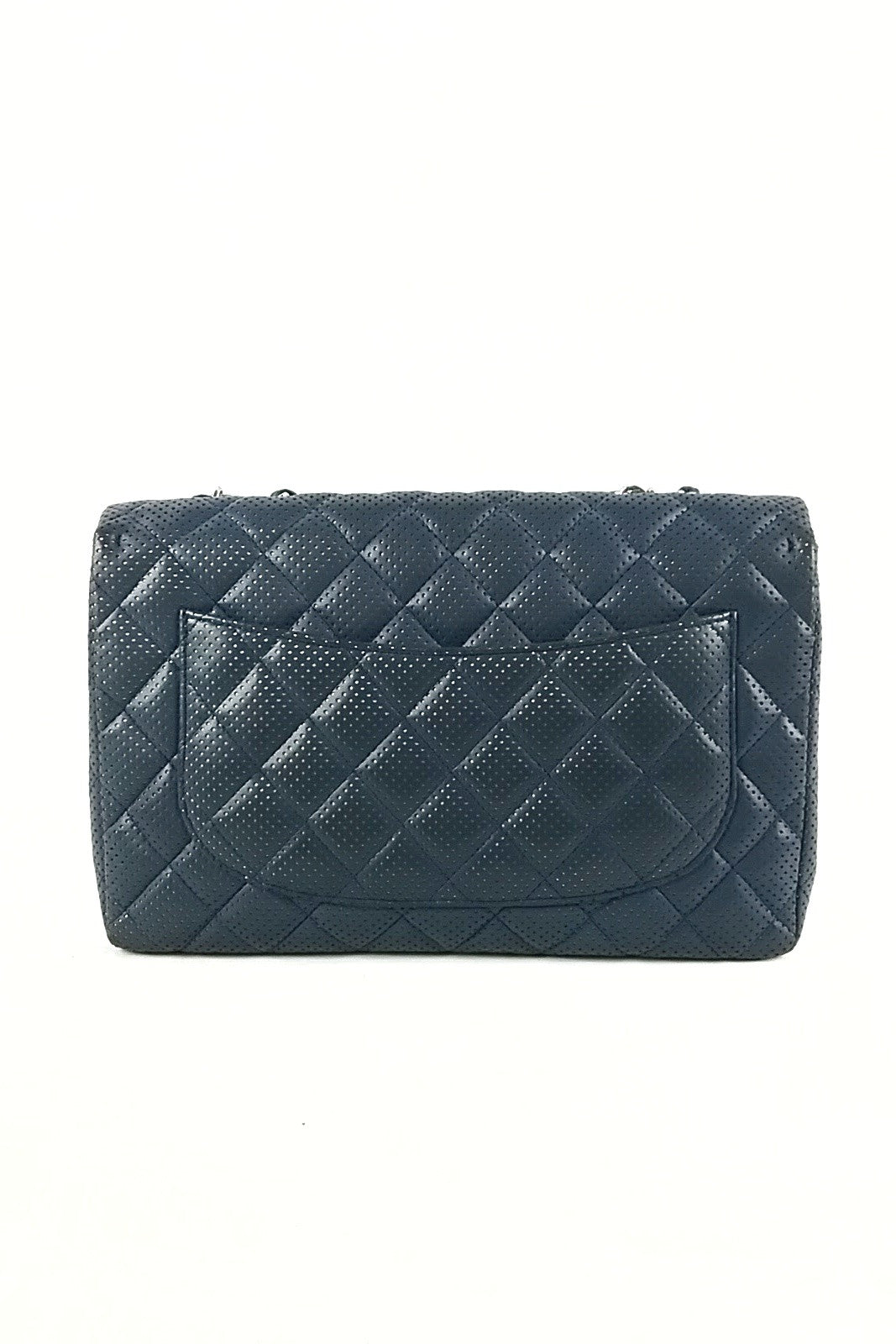Perforated Midnight Blue Lambskin Single Flap Bag