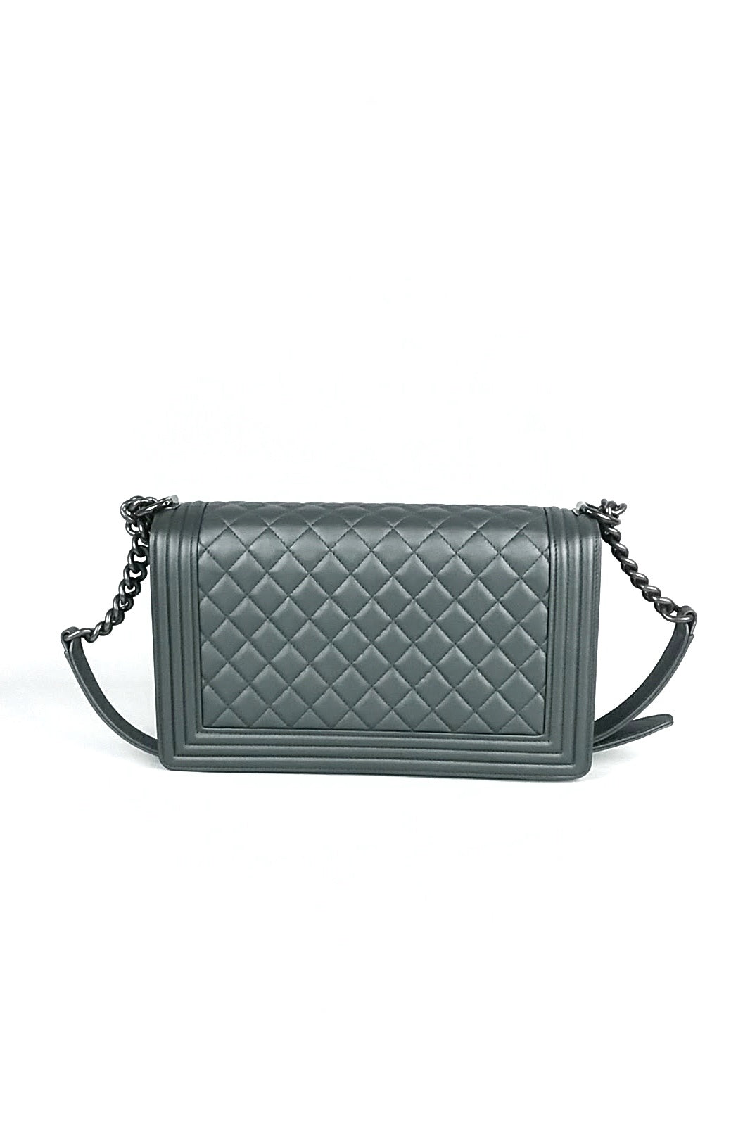 Silver Quilted New Medium Boy Bag