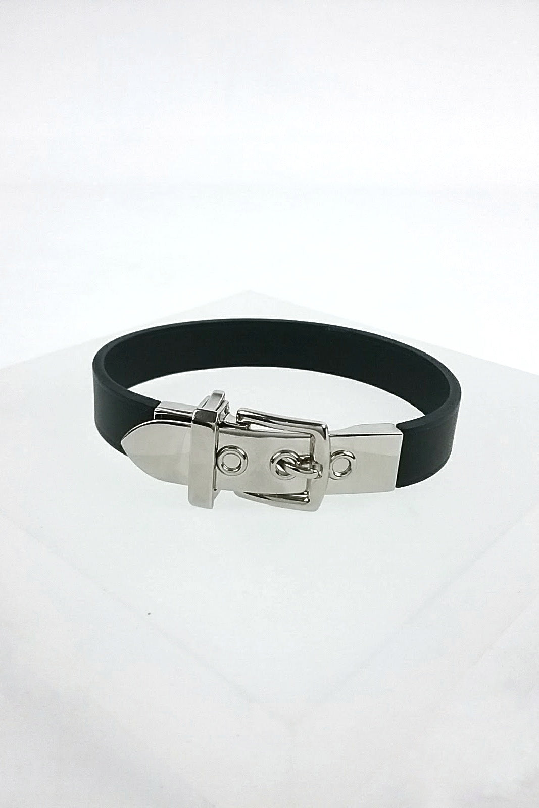 Black Leather Buckle Bracelet w/ PHW