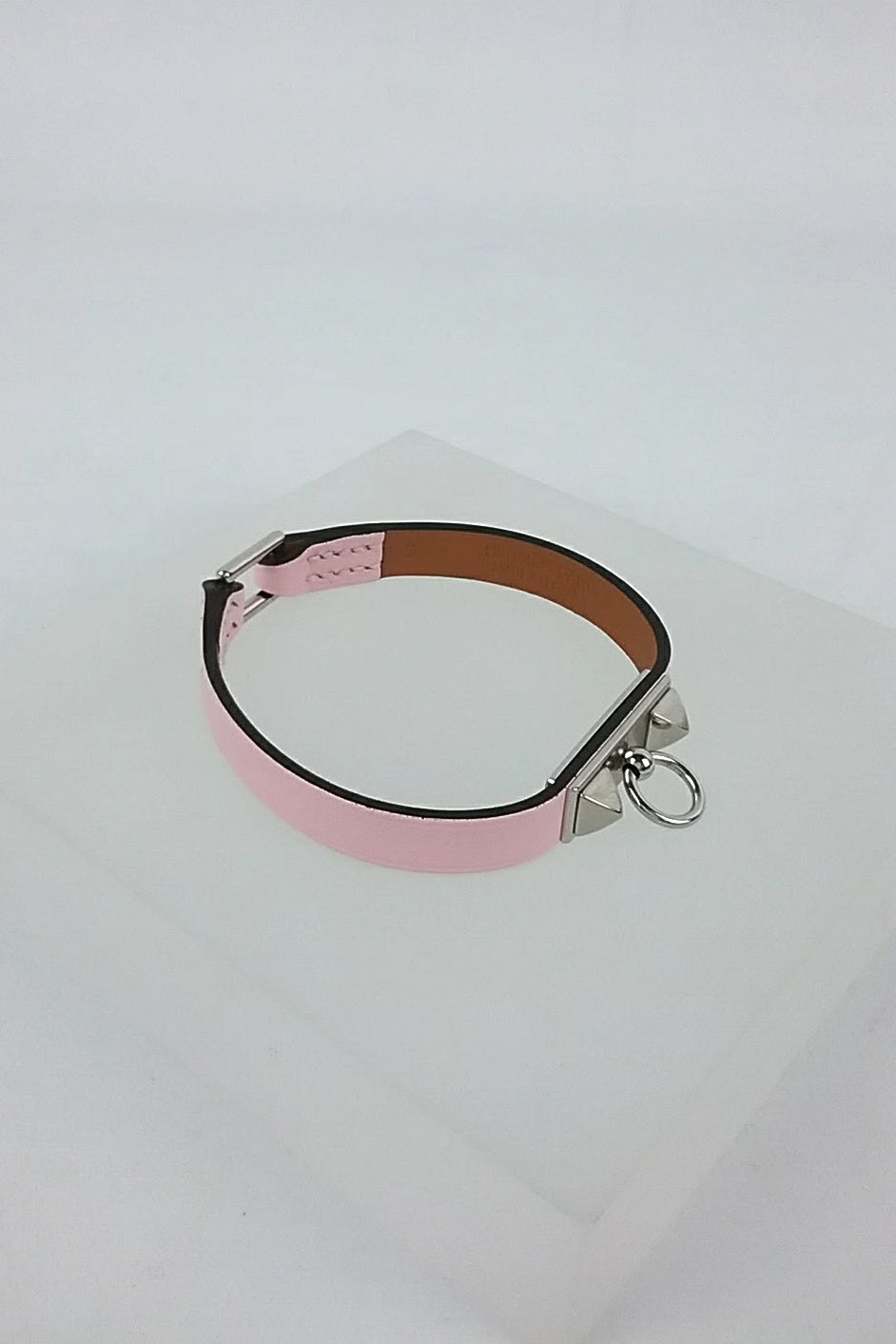 Micro Rivale Pink Leather Bracelet w/ PHW