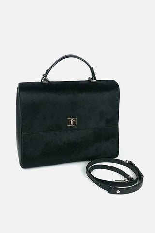Medium Cabas Rive Gauche Tote w/ Black Grained Leather and Suede