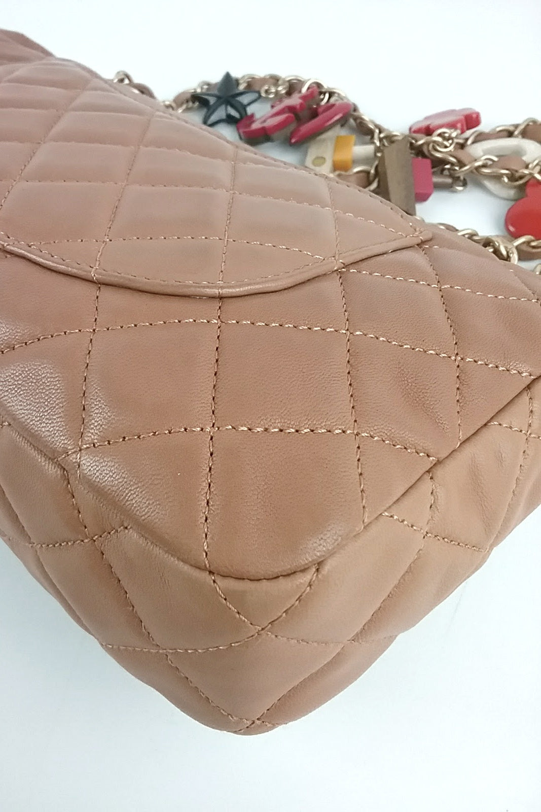 2011 Cruise Collection Tan Leather Medium Marine Charms Single Flap Bag GHW