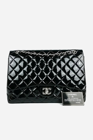 Black Patent Leather Quilted Single Flap Maxi SHW
