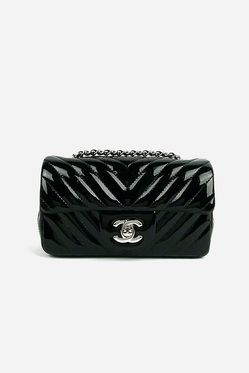 ef025823c6635a Black Patent Leather Chevron Rectangle Extra Mini SHW - Haute Classics