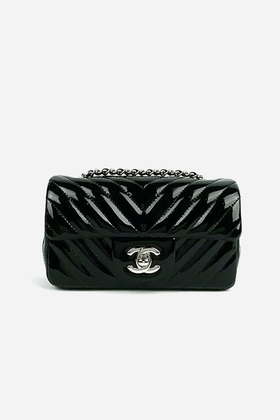 Black Patent Leather Chevron Rectangle Extra Mini SHW - Haute Classics