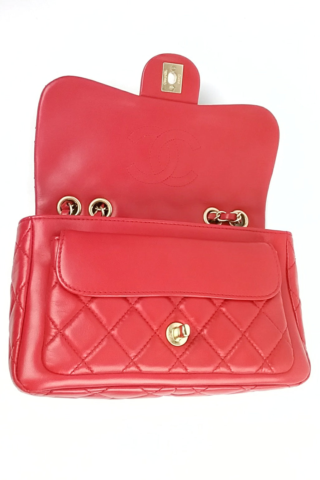 Chanel Red Lambskin Matelasse Flap Bag GHW