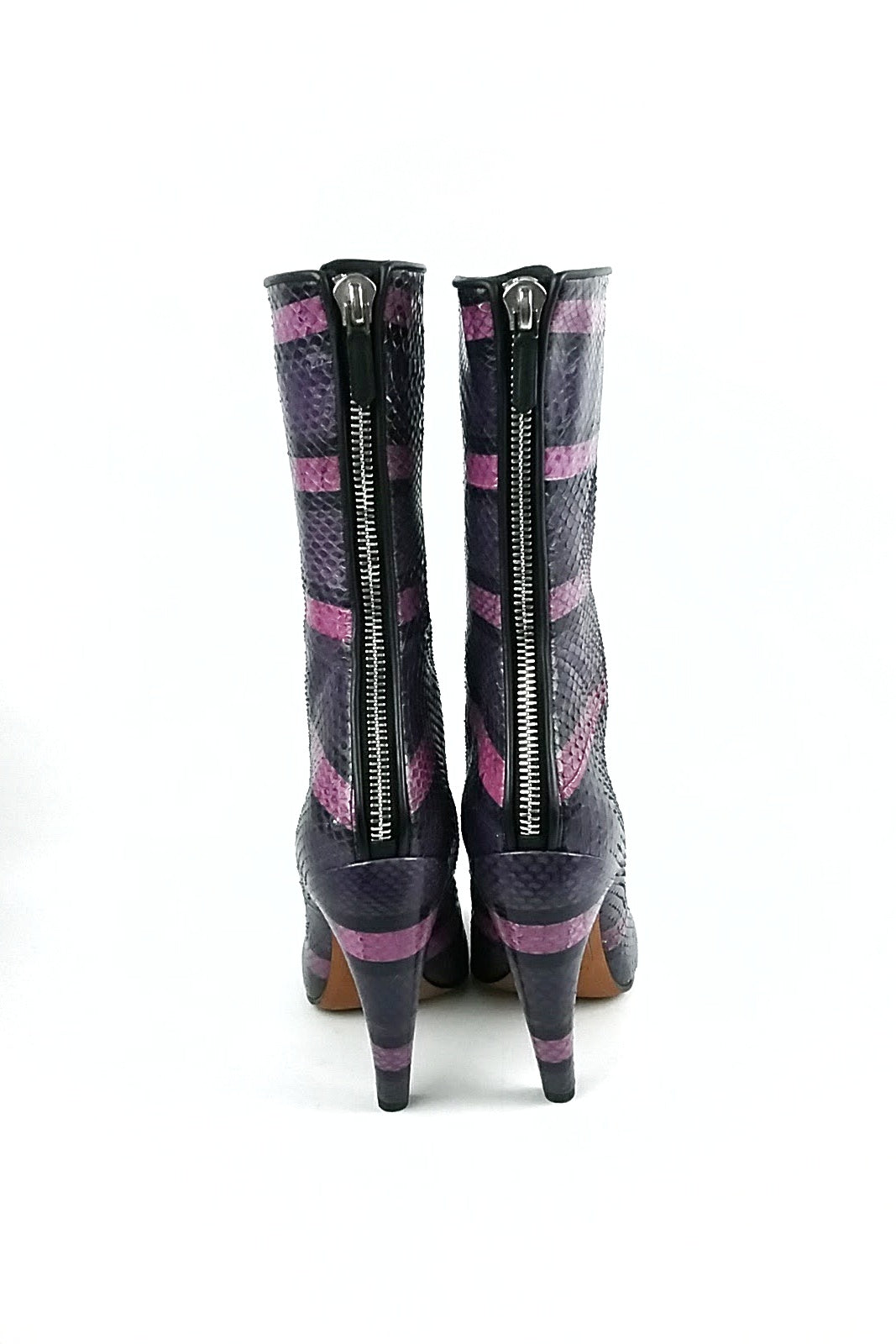 Purple Striped Snakeskin Curved High Boots