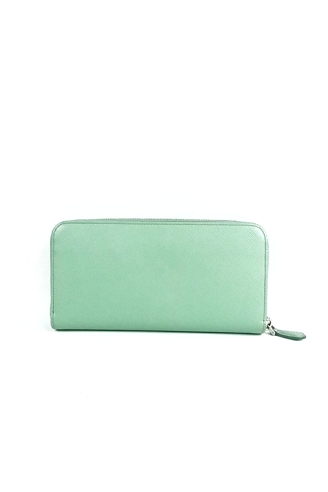 Mint Green Saffiano Leather Bowtie Zip Around Wallet SHW