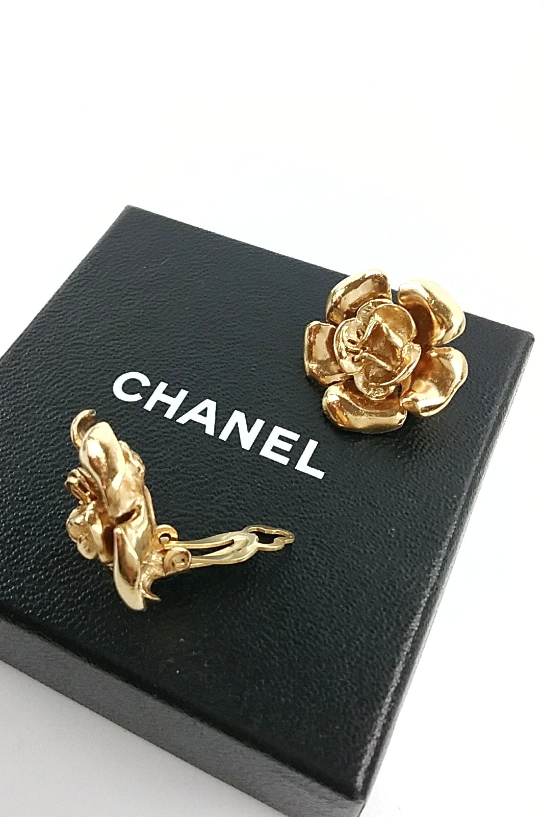 Vintage Gold Camellia Clip Earrings w/ CC Logo