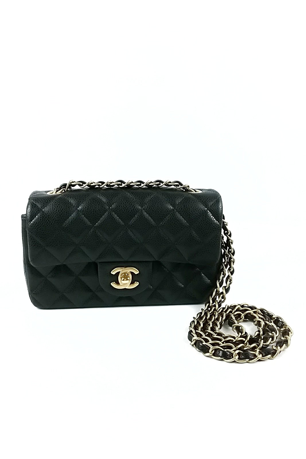 Black Caviar Rectangular Mini Flap Bag
