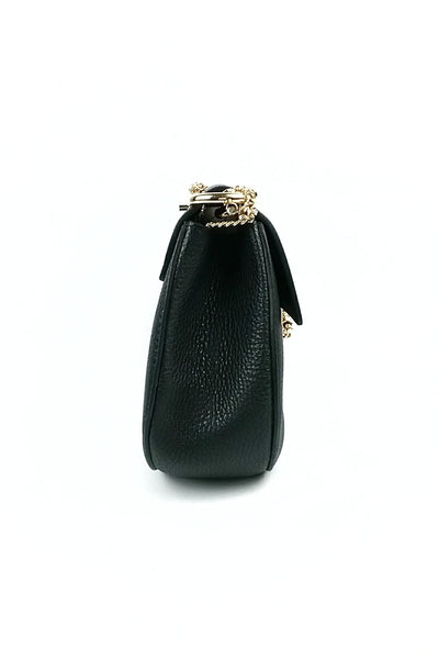 Black Grained Leather Drew Bag GHW - Haute Classics